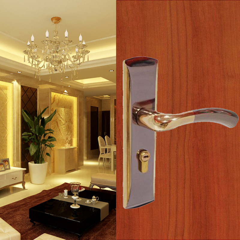 High-quality Door Lock Bedroom Door Interior Room Door Solid Wood Gate Locks Door Handle Simple Double Lock Tongue, with 3 Keys right oven handle or industrial steam rice cooker handle with sector shape lock tongue