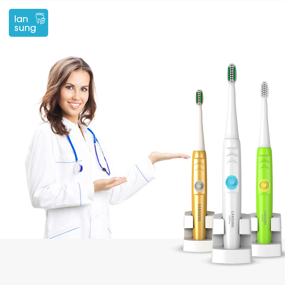 LANSUNG Sonic electric toothbrush Rechargeable Electronic Toothbrushes Electric tooth brush Sonicare Brosse a dent electvique 2pcs philips sonicare replacement e series electric toothbrush head with cap
