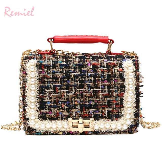2019 Winter Fashion New Female Square Tote bag Quality Woolen Pearl Women's Designer Handbag Ladies Chain Shoulder Crossbody Bag 2