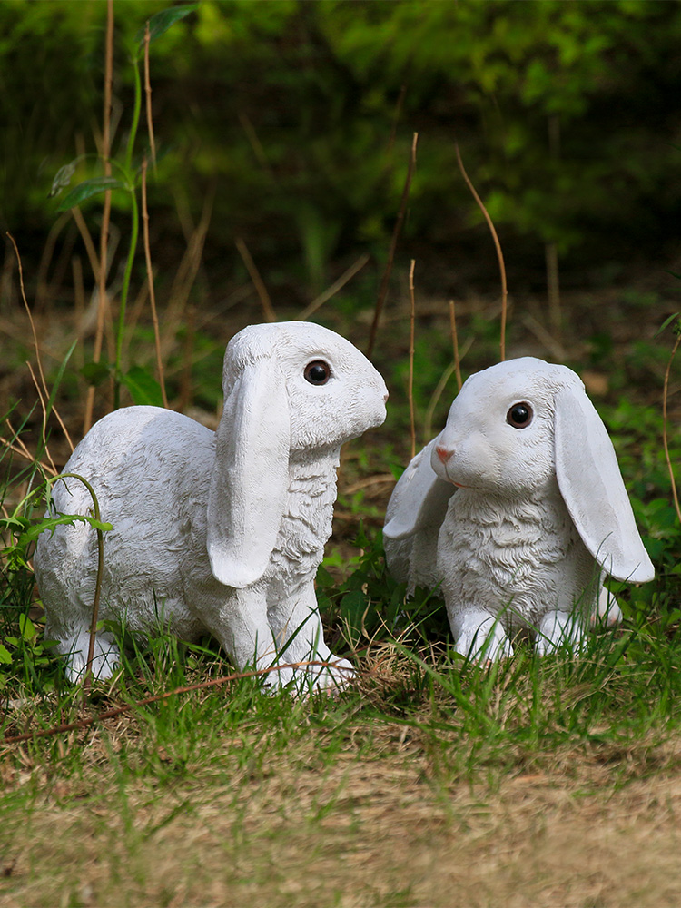 Simulation Resin Sitting Rabbit Home Decoration Handicrafts Creative Animal Rabbit Model Garden And Wedding Decoration Gift