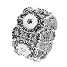 2018 Vintage Owl Snap Bracelet&Bangles fit 18mm Snap Buttons Crystal Antique Silver Bracelets Elastic Snap Jewelry for Women Men