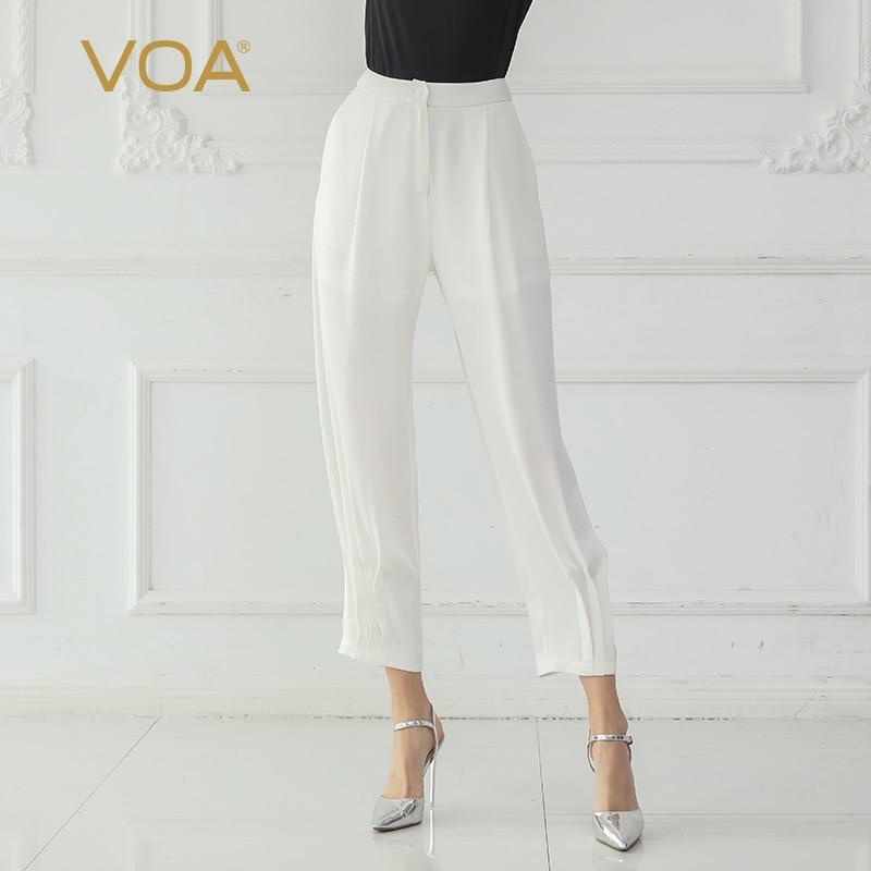 VOA белая офисная шелковые шаровары Для женщин длинные брюки, середины талии Повседневное осень K708