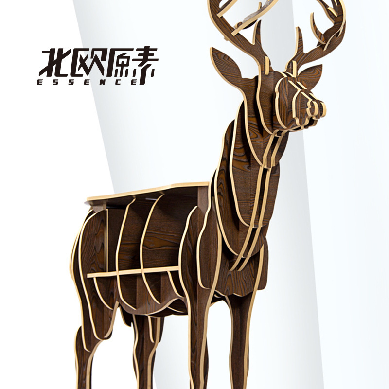 Scandinavian creative elk deer animal shaped wooden bookcase shelves console table ornament creative home decoration coffee desk
