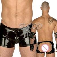 Gratis verzending suitop sexy latex underwear slips latex boxer voor mannen