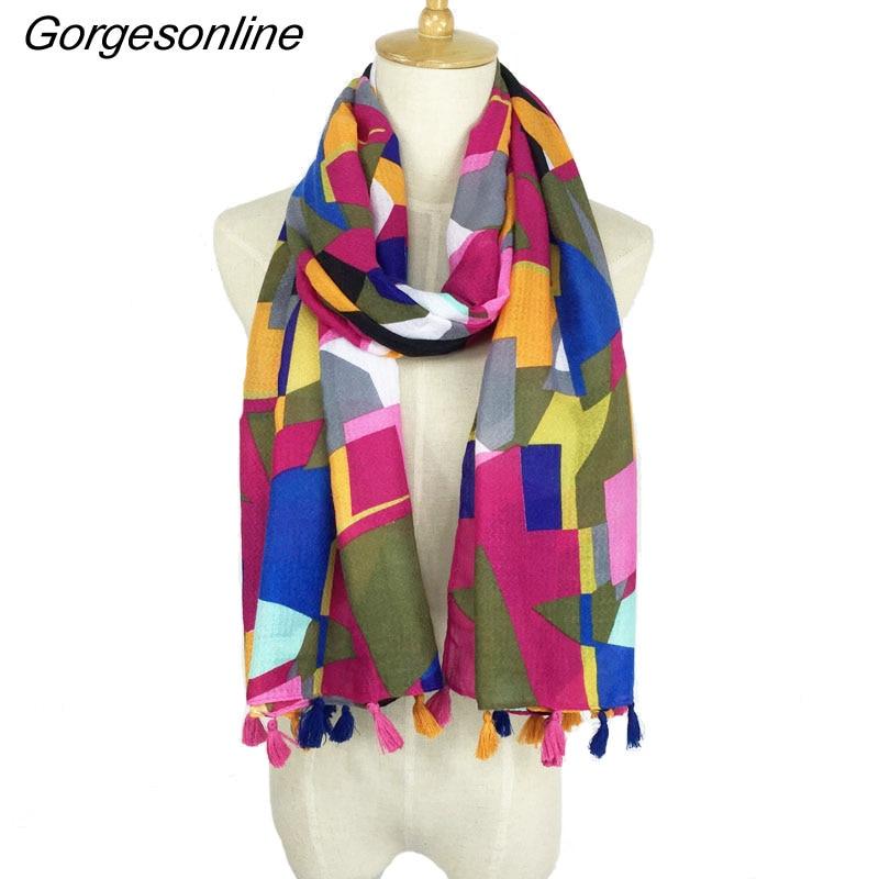 Hot Selling Very Pretty Printing Design Hijab Shawl High Quality Aztec Tribal Scarf Tassel