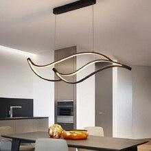 Luzes modernas do pendente do diodo emissor de luz para a sala de jantar barra da sala de cozinha sala de estar pendurado luminária matte preto/branco 90 260 v żyrandol