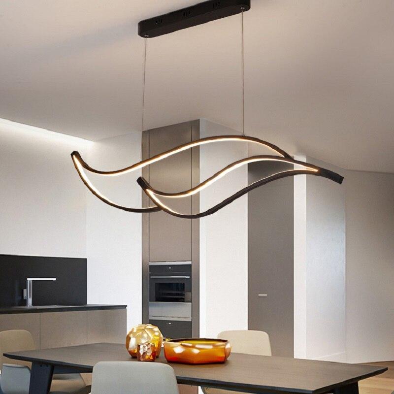 Modern Led Pendant Lights For Dining Room Kitchen Room Bar Living Room Hanging Pendant Lamp Matte Black/White 90-260V Żyrandol