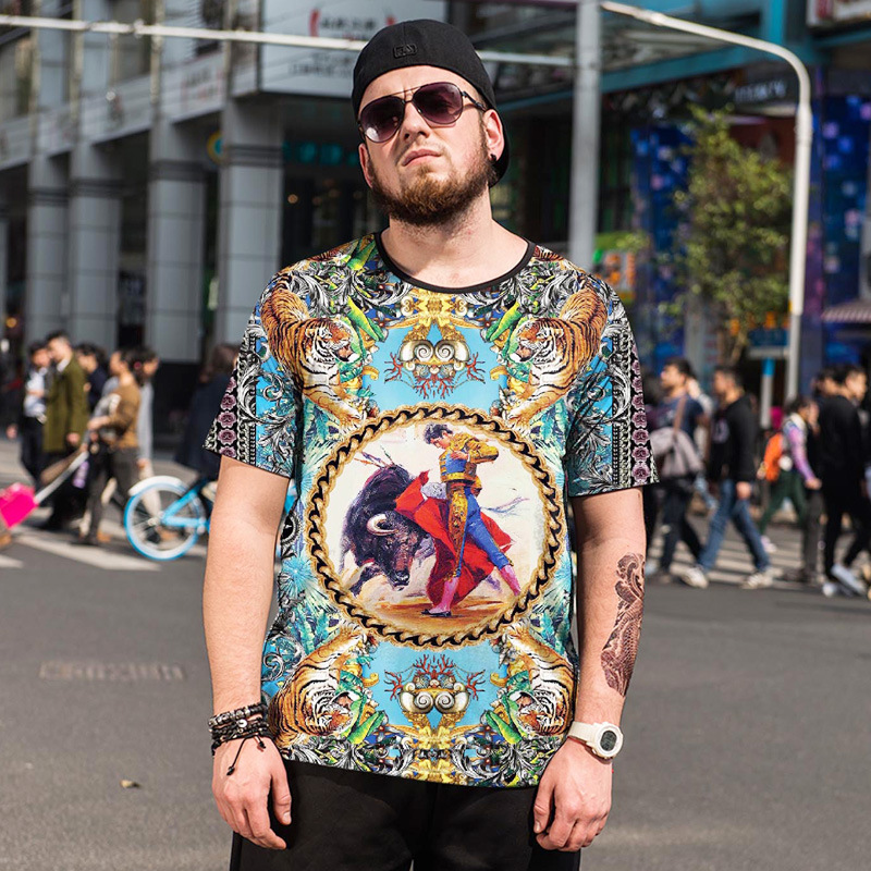 Oversized Mens Clothing Apparel matador bullfight print t shirt men casual tee short sleeve summer fashion top plus size Tshirt ...