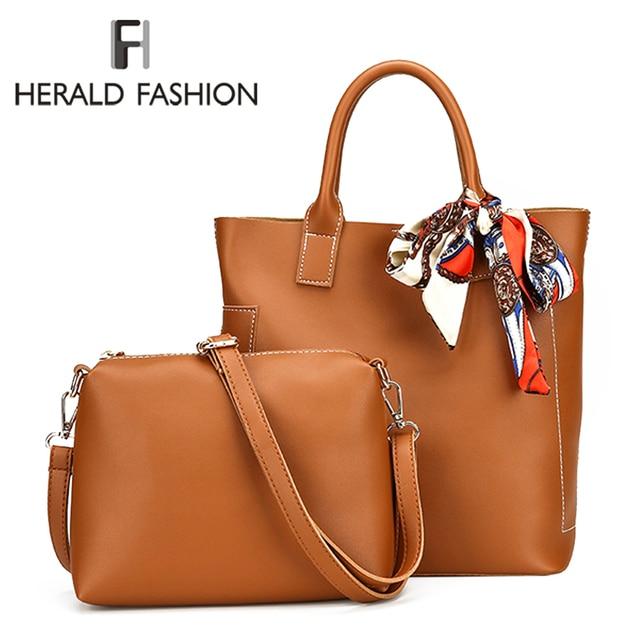 96a0a1de94681 Herald Fashion Women Bag Scarf Handbags Ladies Composite Bag PU Leather  Shoulder Bags Brand Designer Casual Large Tote Bag Bolso