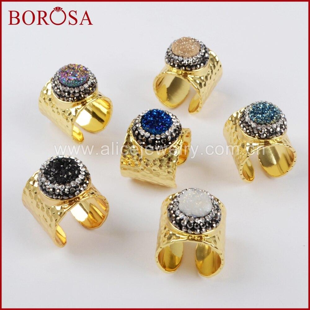 BOROSA модное круглое кольцо с манжетами для женщин, титан Радужная Друза с кристаллами Стразы позолоченное кольцо JAB755