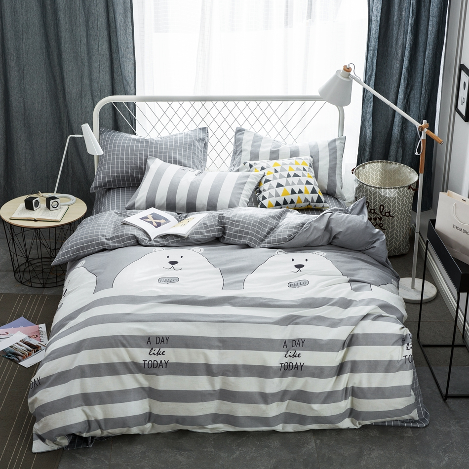 grey stripes duvet cover set 100 cotton white bear duvet coverbrief bed sheets - Striped Sheets