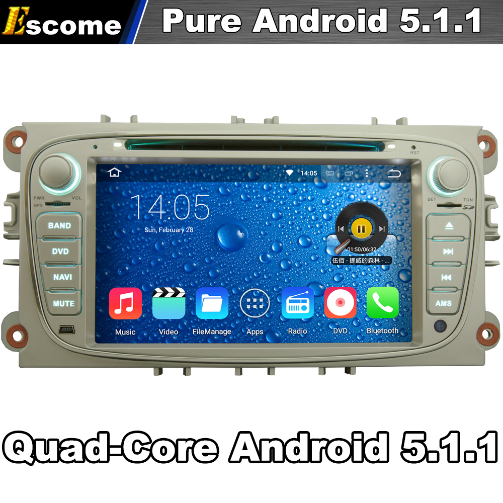 Quad Core 2 Din Android 5.1 Car DVD Automotivo For FORD Mondeo Focus S-Max C-Max Galaxy Kuga With Radio 2G ROM GPS Navi