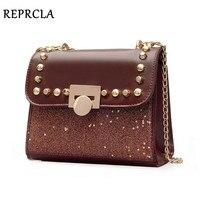 REPRCLA Brand Designer Shoulder Bags Fashion Sequins Women Messenger Bags Chain Rivet Crossbody Women Evening Bag