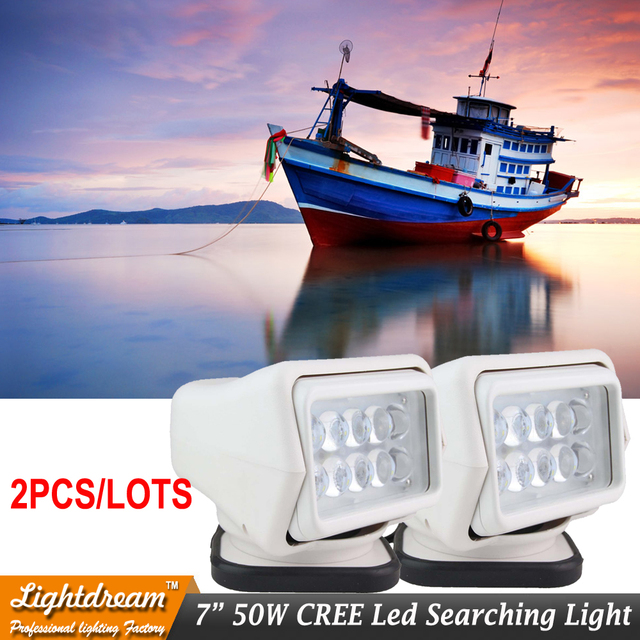 Remote control searching light car spotlight 50w led search light 12v 24V for boat Auto Hunting Working Lamp Truck Lamps x2pcs