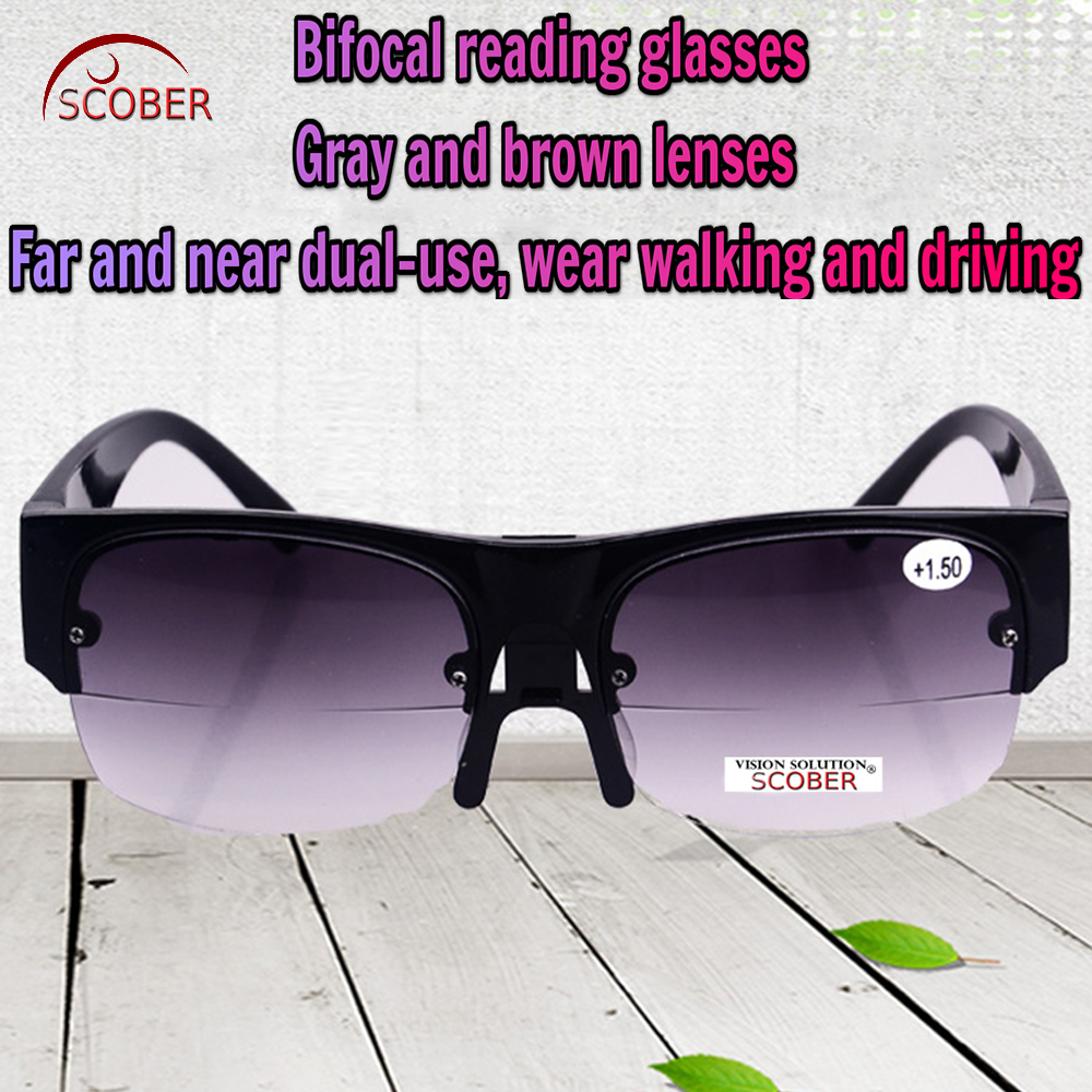 = SCOBER = Multifunction Far near Dual use bifocal reading sunglasses gray and brown lens Adjustable nose +1 +1.5 +2 +2.5 TO +4