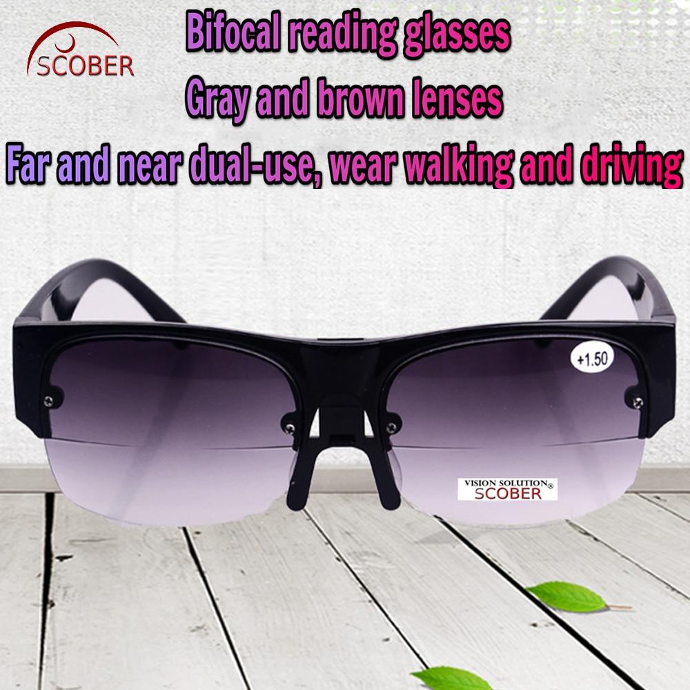 = SCOBER = Multifunción Lejos cerca de uso dual Gafas de sol de lectura bifocales Lentes gris y marrón Nariz ajustable +1 +1.5 +2 +2.5 TO +4