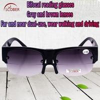 CLARA VIDA Intelligence Progressive Multifocal Reading Glasses Bifocal Half Rim Gold Luxury Men Ultra Light