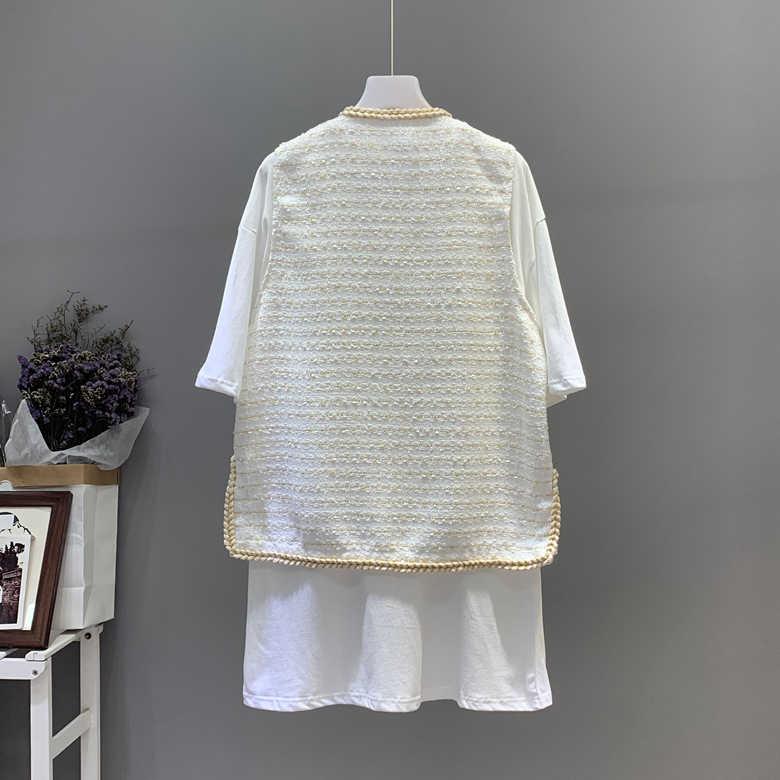 2019 Baru 2 Buah Set Elegan Rompi + Putih Tee Suit Loosetweed Rompi Wanita Tanpa Lengan Jaket Blazer Wanita Memakai dengan huruf Bros