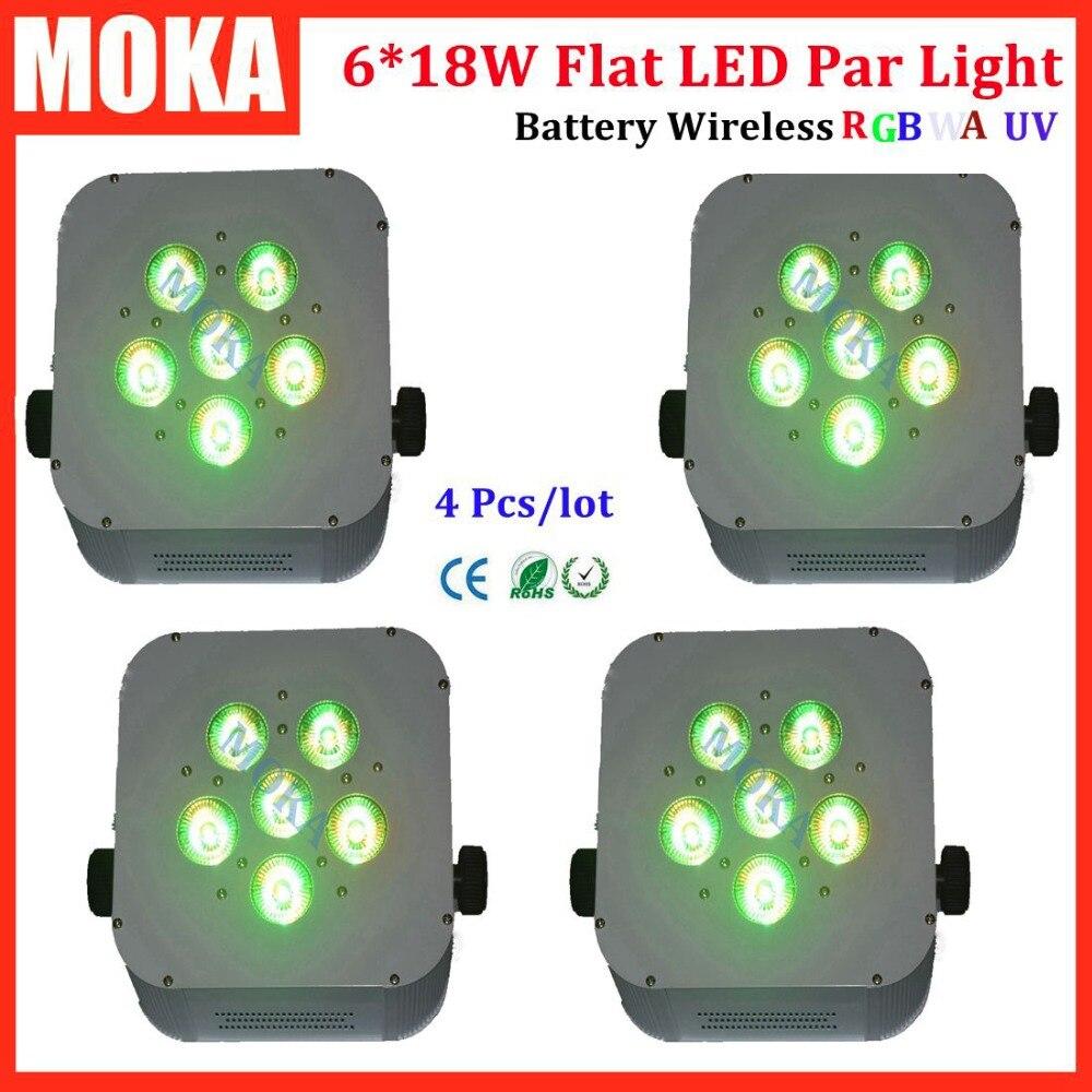 4Pcs/Lot DMX Wireless RGBWA+UV LED Battery Par Uplights With Road Case 1pcs lot battery holder box case 3x aa 4 5v with switch