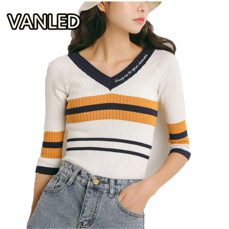 Vintage Striped Knitting V Neck Slim Woman Chic Half Sleeve Sweater Tops
