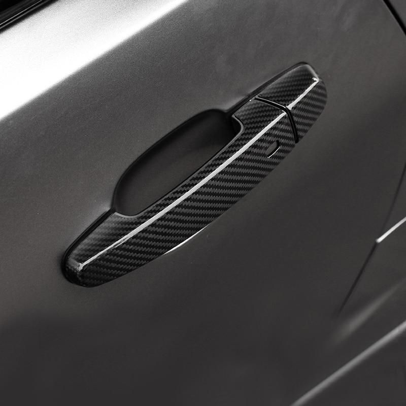 QHCP Carbon Fiber Car Styling Door Handle Cover Sticker Trim Frame For Chevrolet Camaro 2016 Exterior
