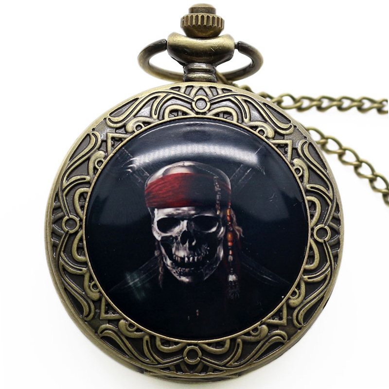 Classic Movie Pirates of the Caribbean Bronze Pocket Watch High Quality Quartz Fob Watch With Chain Necklace bronze quartz pocket watch old antique superman design high quality with necklace chain for gift item free shipping