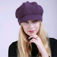 2017 New Top Quality Winter Warm Berets For Women Solid Color Soft Knitted Hat Beanies Peaked