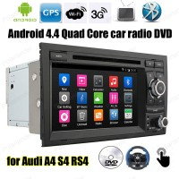 Quad Core Android4.4 car radio 7 inch DVD player Support TPMS screen mirroring DAB + OBDII BT GPS 3G WiFi For Audi A4 S4 RS4