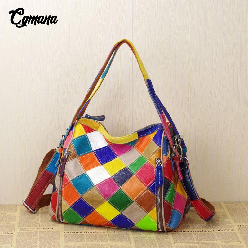 CGmana Genuine Leather Women Handbag 2018 National Style Color Irregular Stitching Soft Genuine Leather Shoulder Messenger Bag все цены