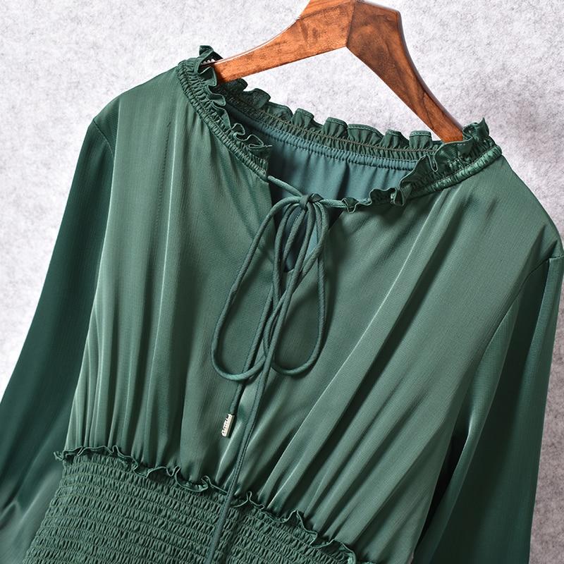 O Nouvelle Robe 2018 Manchettes Élégant Élastique Partie Mode Taille Femmes Cravate Habille À 30 Manches La Cou Longues Plissée Vintage Soie Design Vert 8Hrw8
