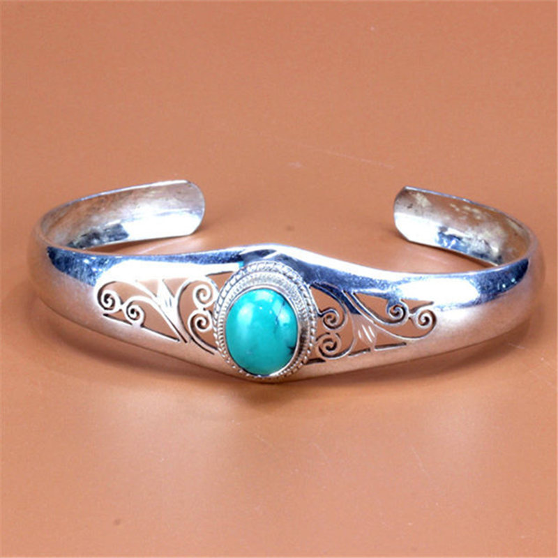 T9108 Nepal 925 Sterling Silver Inlaid Natural Stone Hollow Vintage Open Cuff Bangles Free ship