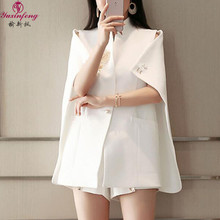 Yuxinfeng Spring Autumn Women Cape Blazer Black White Runway Fashion Beadinged Diamond Ruched Coats Lady Sexy Clothing