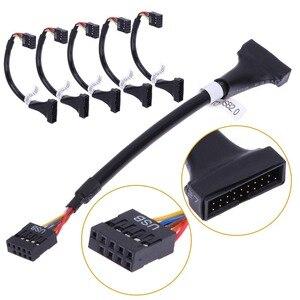 5 шт./компл. USB 3,0 20 Pin штекер к USB 2,0 9 Pin Материнская плата женский кабель адаптер и конвертер USB для геймпада для cd-rom/гибких дисков панели набор ...