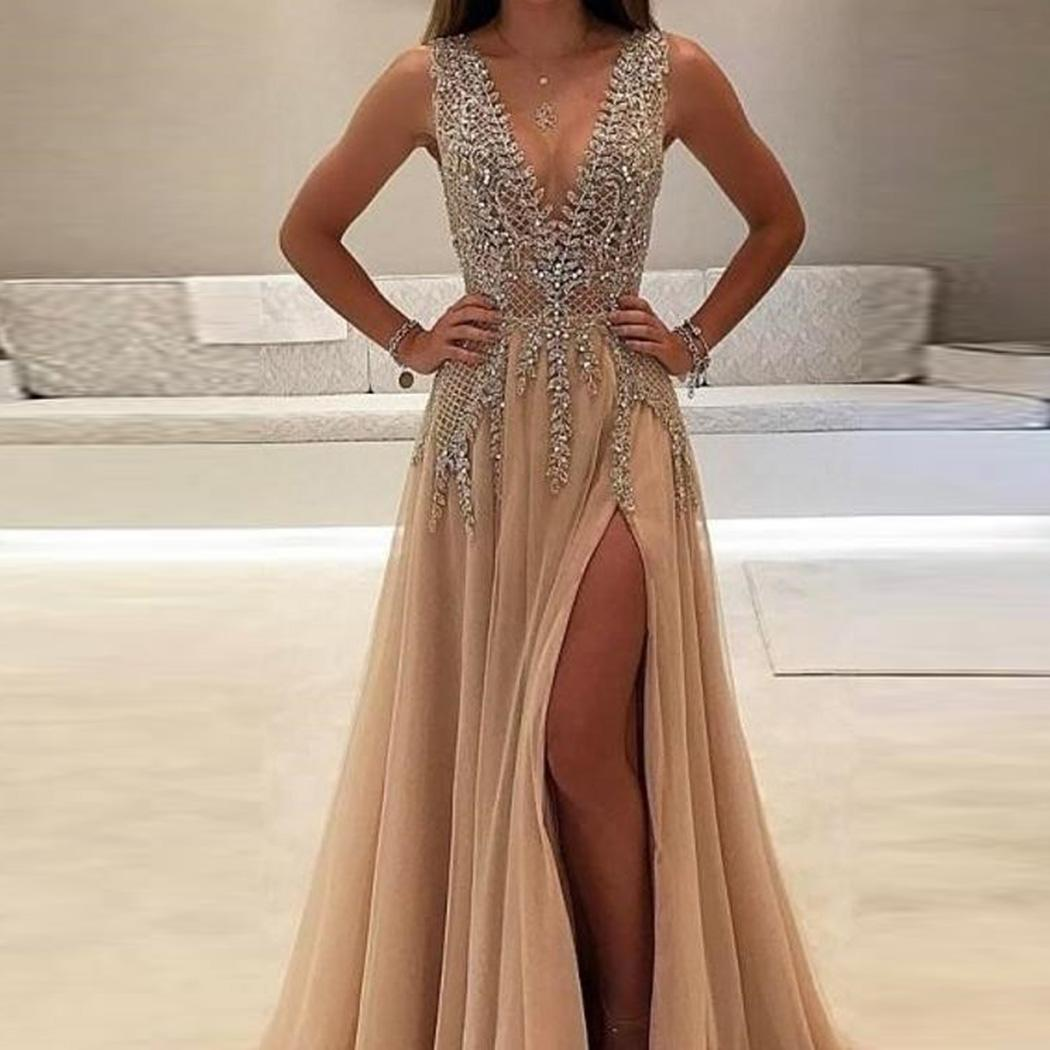 AL'OFA Formal   Evening     Dress   Women V-Neck Sleeveless Sequins Patchwork Side Split Party Gown Sexy Backless   Evening   Proms