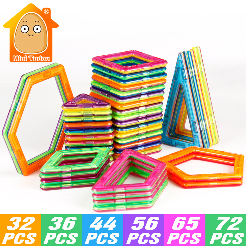 MiniTudou 32-72 PCS Plastic Magnetic Designer Toys Building Blocks Bricks Magnetic Toys Model & Educational 3D DIY For Kids minitudou 88pcs kids toys educational magnetic blocks designer 3d diy models construction creative enlighten building toy gifts
