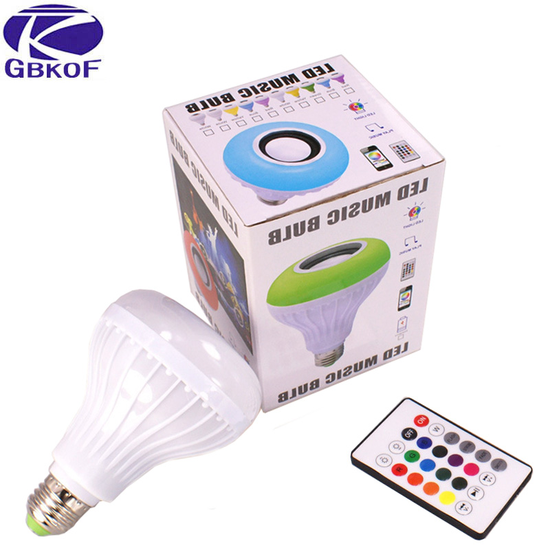 GBKOF RGB Led Bulb 110V 220V Bluetooth Speaker Bulb Music Playing Dimmable 12W E27 LED Lamp Light with 24 Keys Remote Control