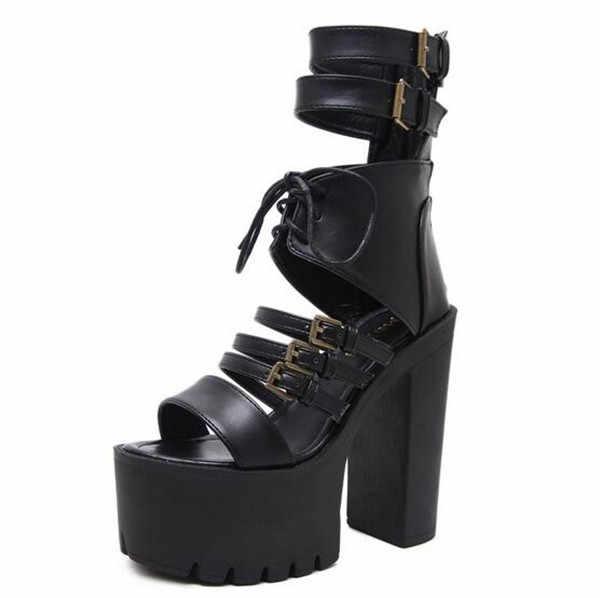 fae0019f0c9 ... 2019 Vintage Punk Rock Gothic Sandals Women Thick Platform Square  Chunky Block High Heels Gladiator Sandals ...