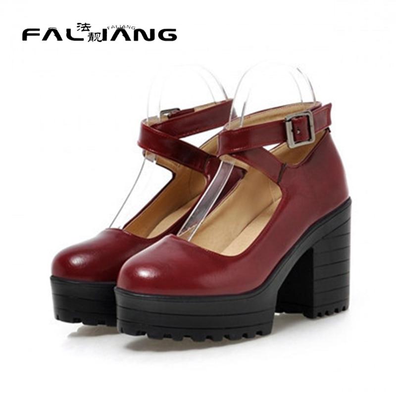 ФОТО 2017 Autumn Vintage Womens Chunky Block High Heel Platform Ankle Strap Buckle Pumps Punk Shoes Plus Size Black White