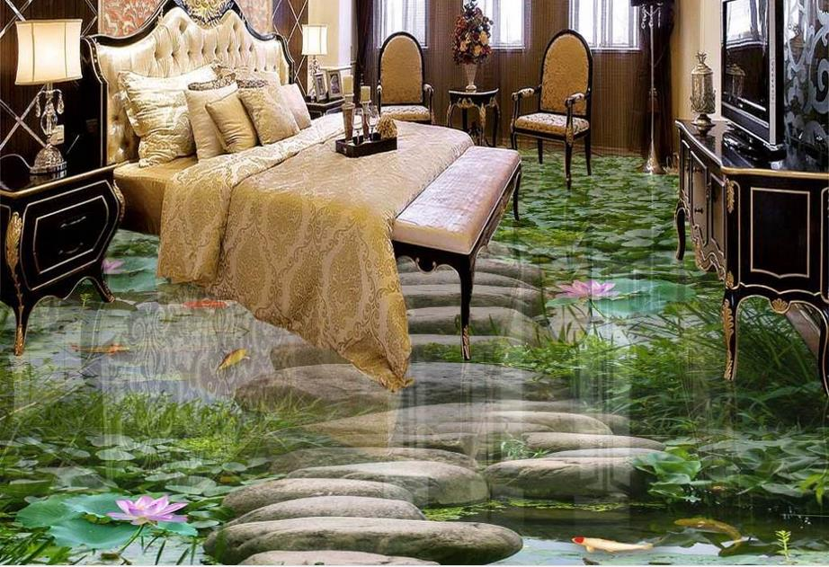 ФОТО high quality 3d flooring custom 3d nature wallpapers Lotus 3d flooring waterproof wall paper 3d stereoscopic vinyl flooring