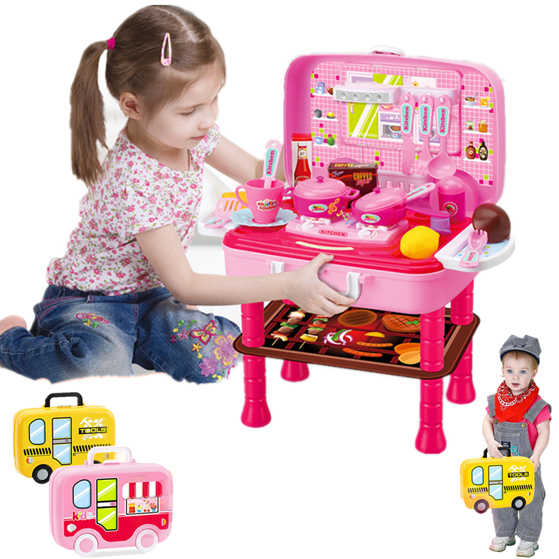Childrens Toy Set Kitchen Tools Doctor Makeup Simulation 4 Styles Double Layered Travel Suit Play House Fun Puzzle Convenient