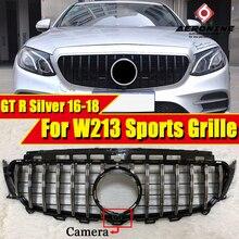 W213 GTS Style Front Bumper grill grille E Class E250 E300 E350 E400 E450 E500 E63 look grills ABS Silver Without Sign 2016-2018