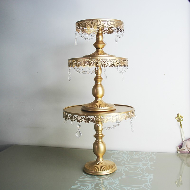 3 pcs Gold cake stand set metal iron crystal wedding party decoration supplier baking cake accessory tools in Stands from Home Garden