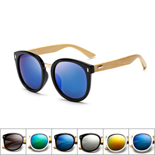 Round cat eye Womens vintage bamboo wood Sunglasses women brand designer shades retro Mirror Oversized sun glasses for women men
