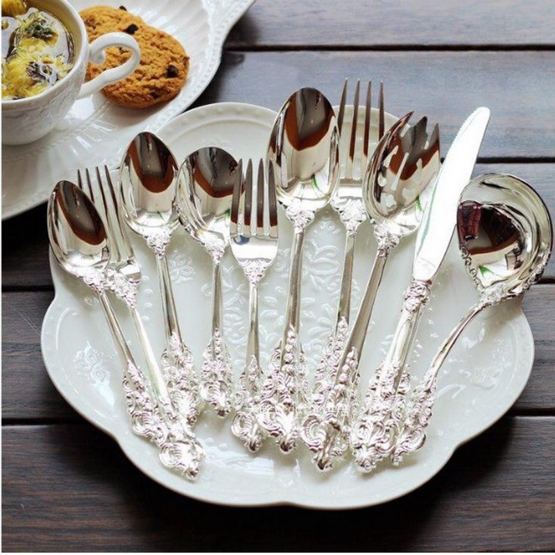 10 pcs Retro engraving Silver Plated Wedding tableware set Western Food Steak Knife Fork Luxury Dinnerware & FHEAL 7pcs/set New Musical Symbol Coffee Tools Stainless Steel ...