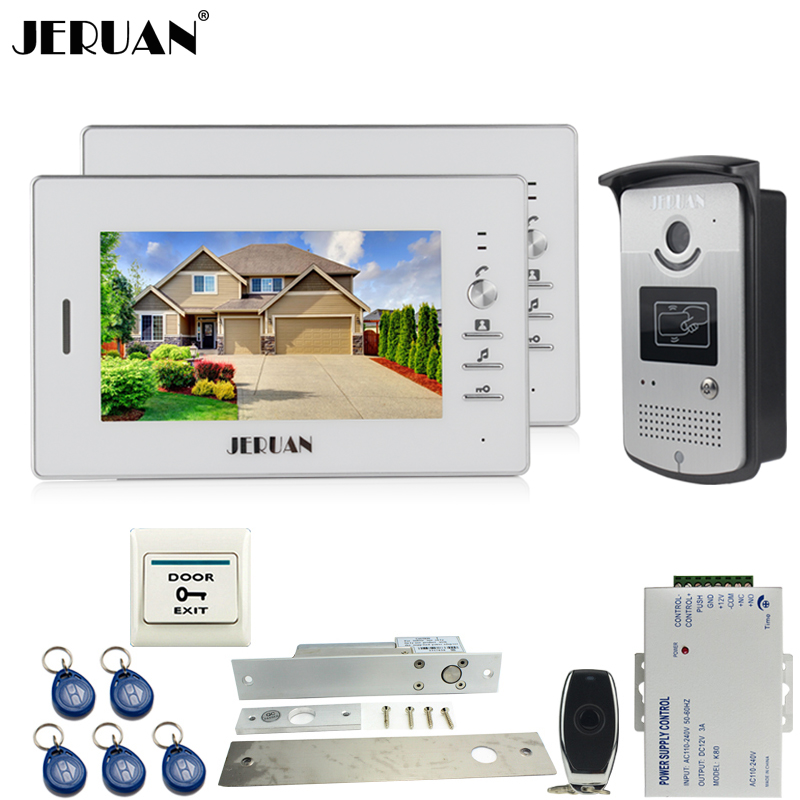 JERUAN 7 inch LCD color video door phone intercom system kit 2 white monitor waterproof 700TVL RFID Access Camera 1V2 In stock brand new wired 7 inch color video intercom door phone set system 2 monitor 1 waterproof outdoor camera in stock free shipping