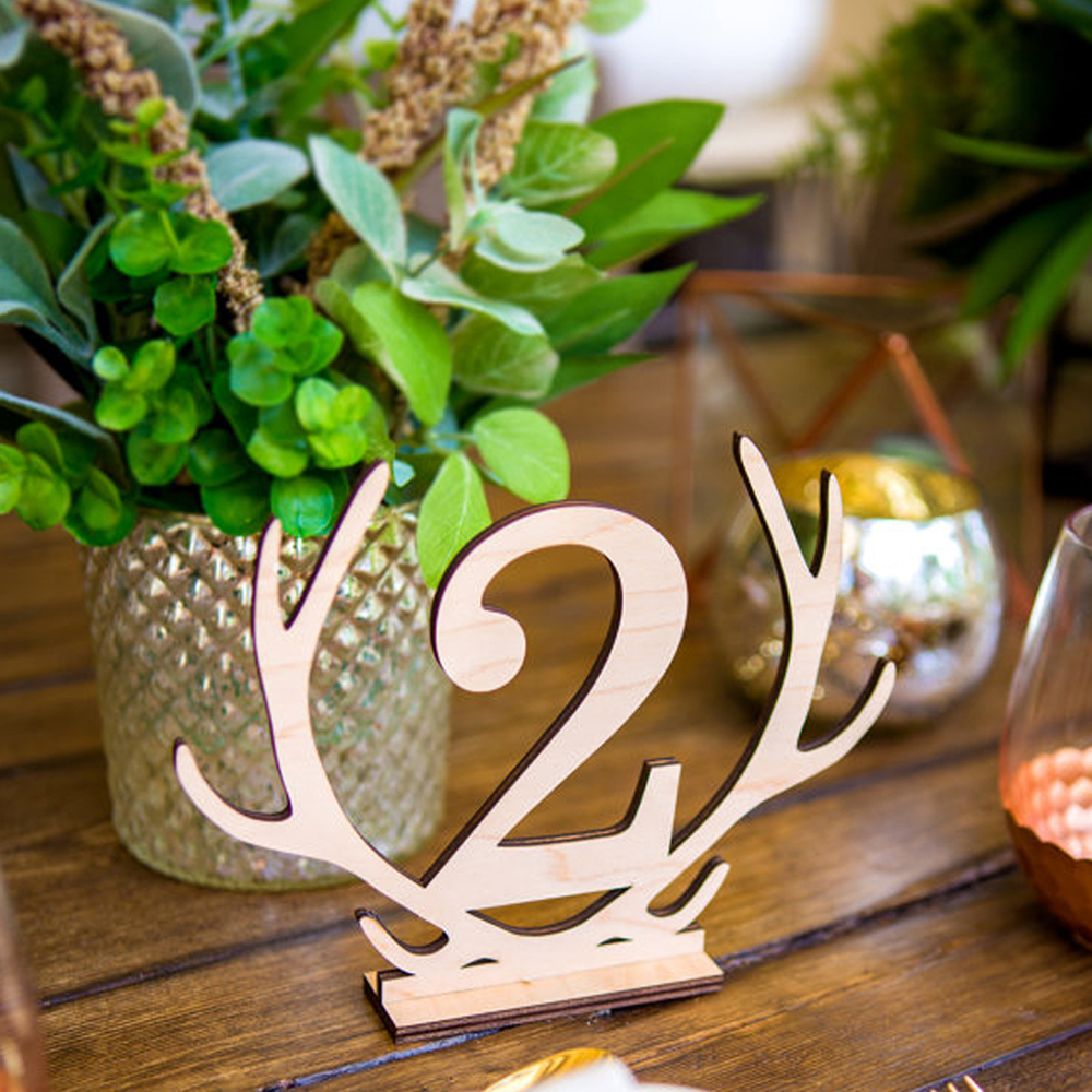 Antler Shape Number 1-20 Seat Card Wooden Deer Hollow Number Seat Place Holder Table Numbers Wedding Party Supplies Festive & Party Supplies Event & Party