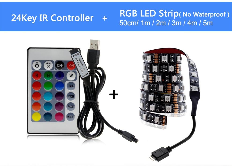 HTB1zEYqO3HqK1RjSZFEq6AGMXXaH USB LED Strip 5050 RGB Changeable LED TV Background Lighting 50CM 1M 2M 3M 4M 5M DIY Flexible LED Light.