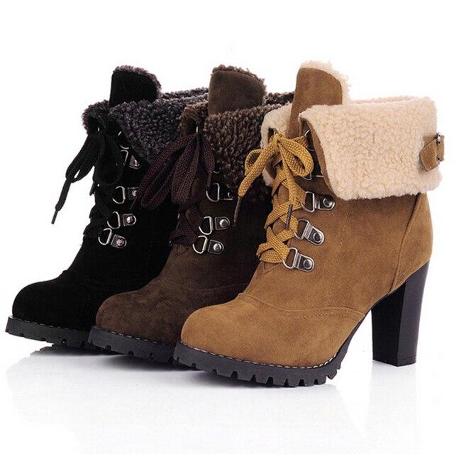 59b8cb3df97 Marque Haute Talons Chaussures Femmes Hiver Bottes Punk Cheville Bottes  Dentelle Up Femmes Lita Plate-