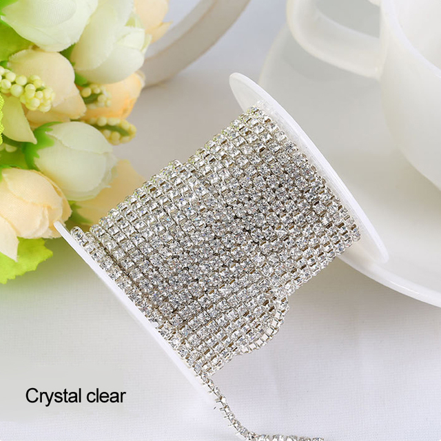 Rhinestones chain Crystal clear 3Yards lot SS6 SS8 SS10 SS12 Silver claw 5389a91f2a35
