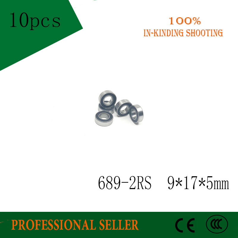 Power Transmission Home Improvement Industrious Free Shipping 10pcs 689-2rs 689 Rs 9*17*5 Mm Abec-3 Rubber Sealed Miniature Mini Bearing Chrome Steel Deep Groove Bearings